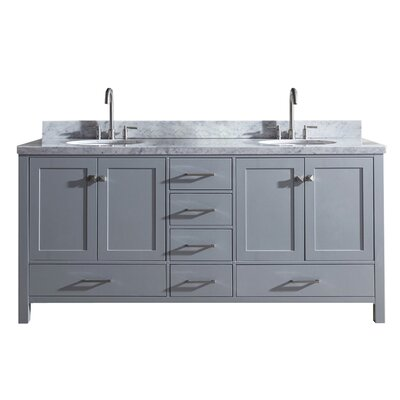 "Utley 73"" Double Bathroom Vanity Set Base Finish: Gray"