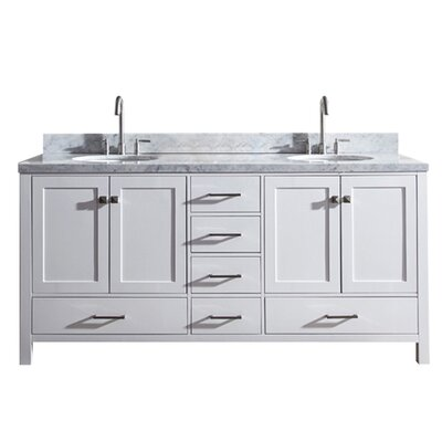 "Utley 73"" Double Bathroom Vanity Set Base Finish: White"