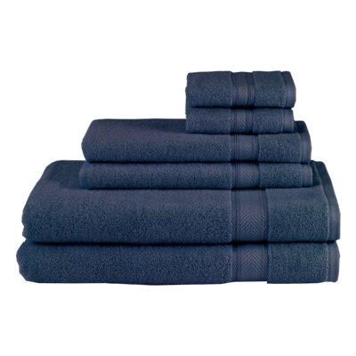 Schmitt Solid 6 Piece 100% Cotton Towel Set Color: Navy