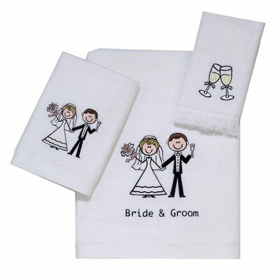 Bride and Groom 3 Piece 100% Cotton Towel Set