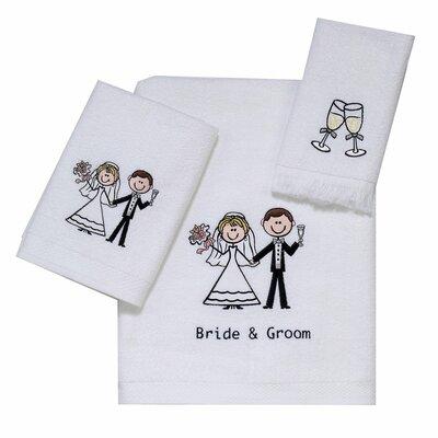 Bride and Groom 3 Piece 100% Cotton Towel Set