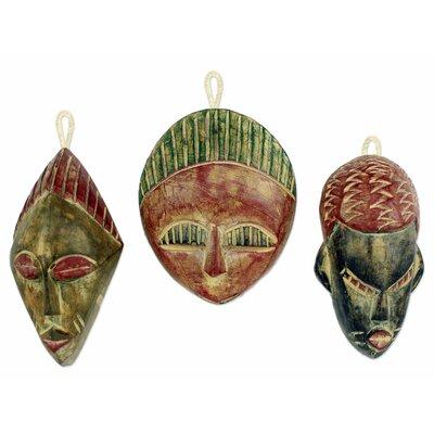 Daniel Nyadedzor Christmas 3 Piece African Wood Ornament Set