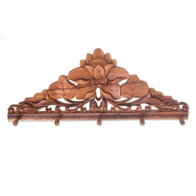 Younker Lotus Pond Hand-Carved Suar Wood Coat Rack