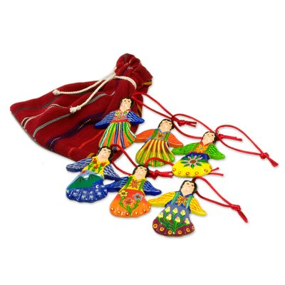 Jose Arriola Happy Angels 6 Piece Ceramic Ornament Set