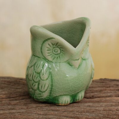 Happy Owl Celadon Ceramic Toothpick Holder