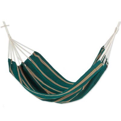 """Double Person Fair Trade Portable Happy Beach Days' Hand-Woven Central American Acrylic Indoor And Outdoor Hammock Color: Happy Beach, Size: 62"""" W x 85"""" D"""
