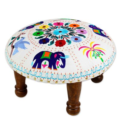 Rothley Elephant Garden Cotton Embroidered Accent Stool