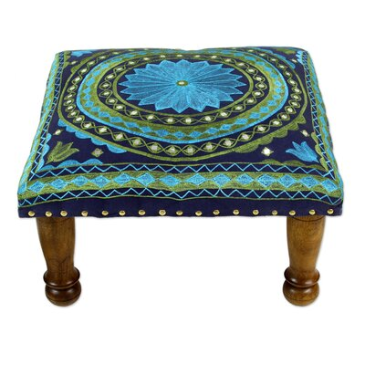Roundhay Mandala Cotton Embroidered Accent Stool