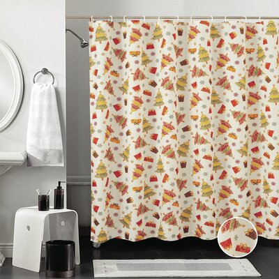 Decorative Christmas Printed Gifts and Trees Design Shower Curtain
