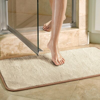 Microfiber Absorbing Bath Mat Bathroom Rug Size: Runner, Color: Blue