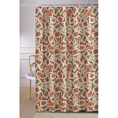 European Christmas Poinsettia Shower Curtain