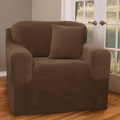 Box Cushion Armchair Slipcover Upholstery: Mocha