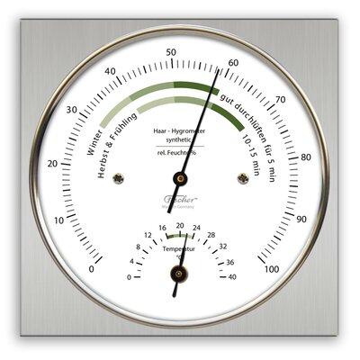 """Fischer Barometer 11cm x 11cm Wohnklima-Hygrometer """"Life"""" mit Thermometer"""