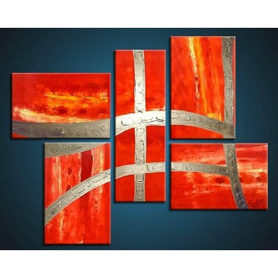 Acura Rugs Victory 5 Piece Framed Original Painting on Wrapped Canvas Set