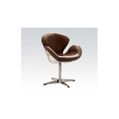 Annessia Top Grain Leather Swivel Armchair