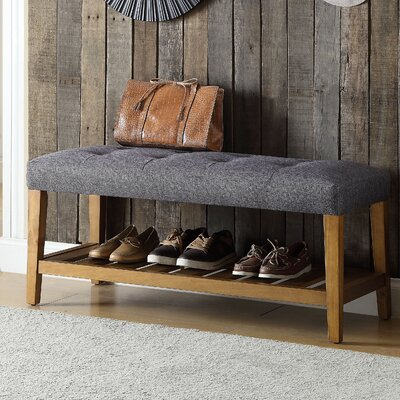 Charla Wood Storage Bench Upholstery Color: Gray