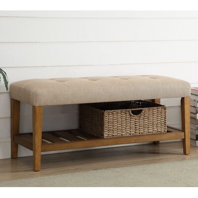 Charla Wood Storage Bench Upholstery Color: Beige