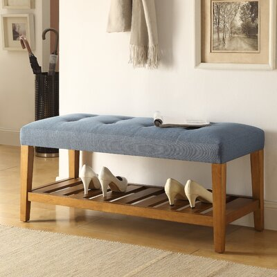 Charla Wood Storage Bench Upholstery Color: Blue