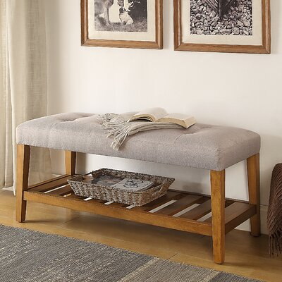 Charla Wood Storage Bench Upholstery Color: Light Gray