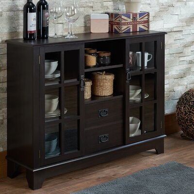 Dubbs 2 Drawer 2 Door Accent Cabinet Color: Espresso