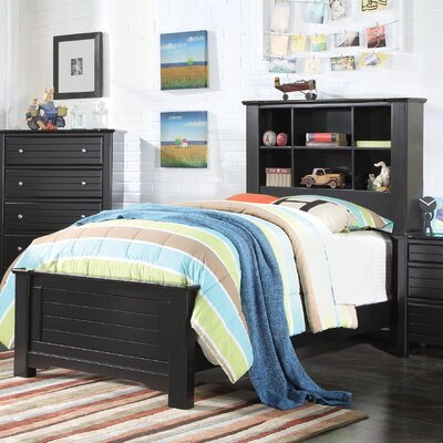 Saylor Bookcase Panel Bed Bed Frame Color: Black, Size: Twin