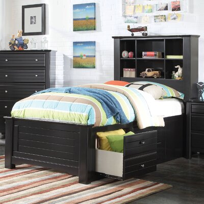 Saylor Bookcase Panel Bed with Storage Bed Frame Color: Black, Size: Twin