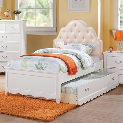 Scalf Tufted Upholstered Panel Bed Bed Frame Color: White, Size: Twin