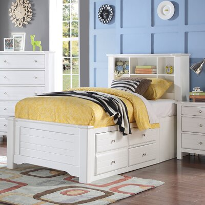 Saylor Bookcase Panel Bed with Storage Bed Frame Color: White, Size: Twin