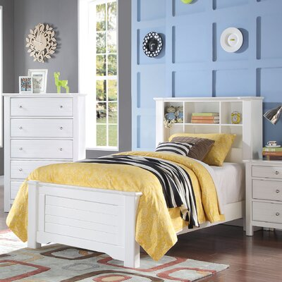 Saylor Bookcase Panel Bed Bed Frame Color: White, Size: Twin