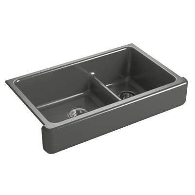 "Whitehaven Self-Trimming Smart Divide 35-1/2"" L x 21-9/16"" W x 9-5/8"" Under-Mount Large/Medium Double-Bowl Kitchen Sink with Short Apron Finish: Thunder Grey"