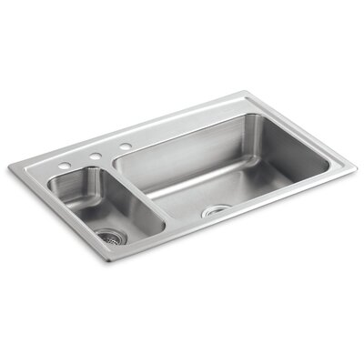 "Toccata 33"" L x 22"" W x 7-11/16"" Top-Mount High/Low Double-Bowl Kitchen Sink with Disposal Bowl and 3 Faucet Holes On The Left"