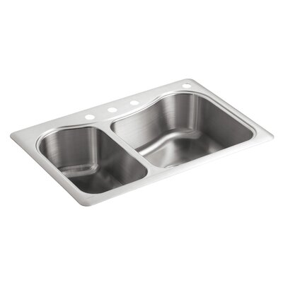 "Staccato 33"" L x 22"" W x 8-5/16"" Top-Mount Double-Bowl Kitchen Sink with 4 Faucet Holes"