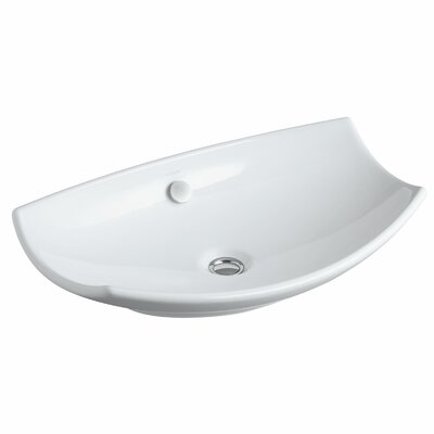 Bancroft Specialty Ceramic Specialty Vessel Bathroom Sink with Overflow Finish: White