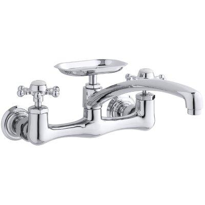 "Antique Double Handle Kitchen Faucet Finish: Vibrant Brushed Nickel, Spout Reach: 8"" Swing Spout"
