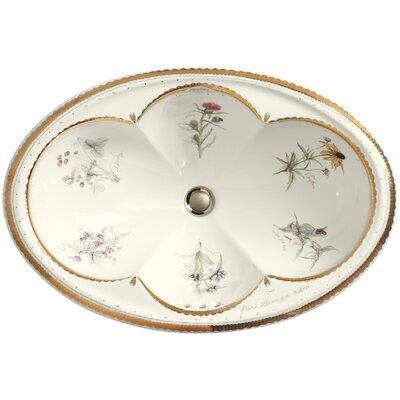 Prairie Flowers Ceramic Oval Drop-In Bathroom Sink