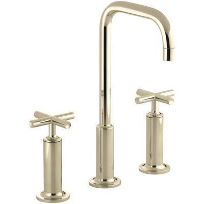 Purist Widespread Bathroom Sink Faucet With High Cross Handles And High Goose