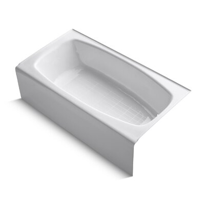 "Dynametric Alcove 60"" x 32"" Soaking Bathtub Finish: White"