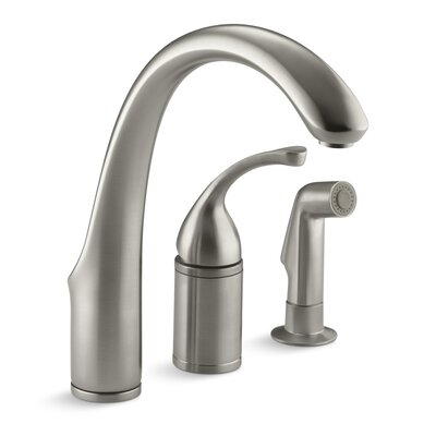 """Fort 3-Hole Remote Valve Kitchen Sink Faucet with 9"""" Spout with Matching Finish Sidespray Finish: Vibrant Brushed Nickel"""