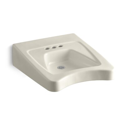 """Morningside Ceramic 20"""" Wall Mount Bathroom Sink with Overflow Finish: Almond"""