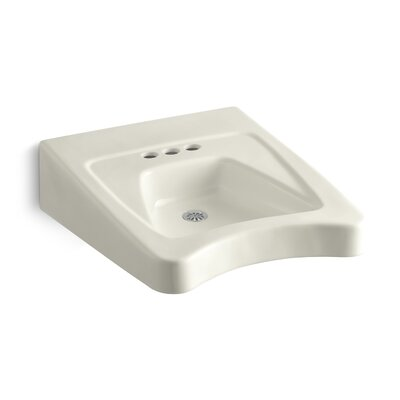 """Morningside Ceramic 20"""" Wall Mount Bathroom Sink with Overflow Finish: Biscuit"""