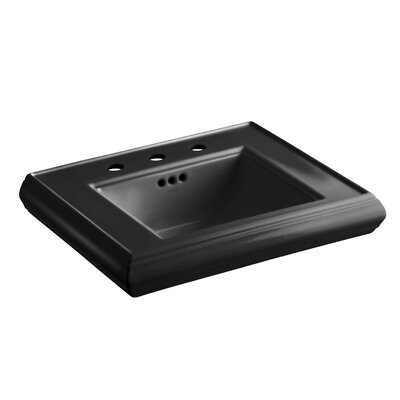"Memoirs Ceramic 24"" Pedestal Bathroom Sink with Overflow Finish: Black Black"