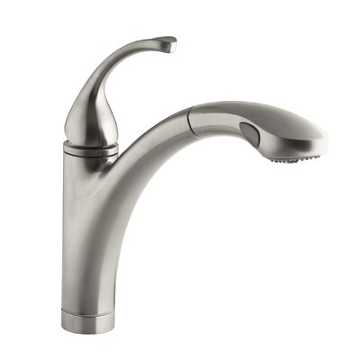 """Fort Single-Hole or 3-Hole Kitchen Sink Faucet with 10-1/8"""" Pullout Spray Spout and MasterClean Finish: Vibrant Stainless"""