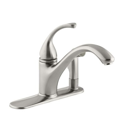 """Fort 3-Hole Kitchen Sink Faucet with 9-1/16"""" Spout with Matching Finish Sidespray In Escutcheon Finish: Vibrant Stainless"""