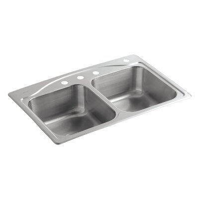 """Cadence 33"""" L x 22"""" W x 8-5/16"""" Top-Mount Double-Equal Kitchen Sink with 4 Faucet Holes"""