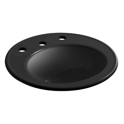 Brookline Ceramic Circular Drop-In Bathroom Sink with Overflow Finish: Black Black, Faucet Hole Style: 4'' Centerset