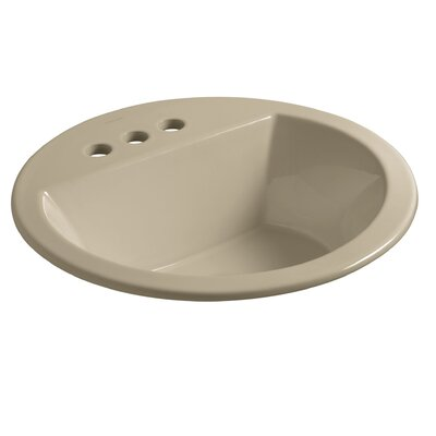 """Kohler Bryant Round Drop-In Bathroom Sink with 4"""" Centerset Faucet Holes"""