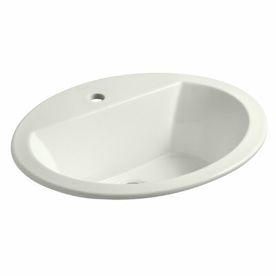 Bryant Ceramic Oval Drop-In Bathroom Sink with Overflow Finish: Dune, Faucet Hole Style: Single