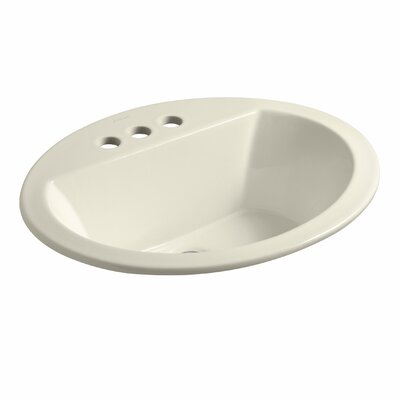 Bryant Ceramic Oval Drop-In Bathroom Sink with Overflow Finish: Thunder Grey, Faucet Hole Style: 4'' Centerset