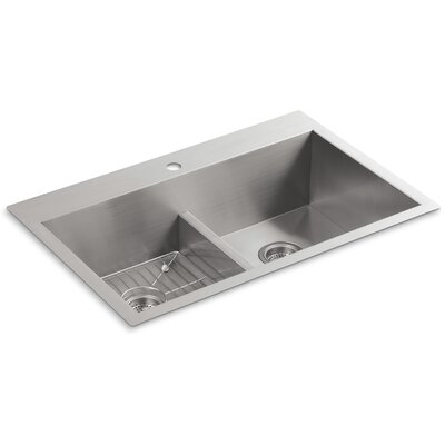 "Vault 33"" L x 22"" W x 9-5/16"" Smart Divide Top-Mount/Under-Mount Double-Equal Bowl Kitchen Sink with Single Faucet Hole"