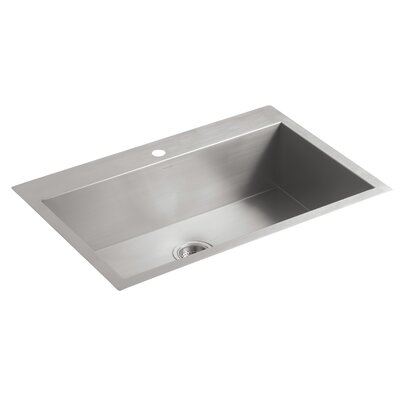 "Vault 33"" L x 22"" W x 9-5/16"" Top-Mount/Under-Mount Large Single-Bowl Kitchen Sink with Single Faucet Hole"